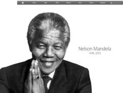 home page of apple.com displays mandela tribute